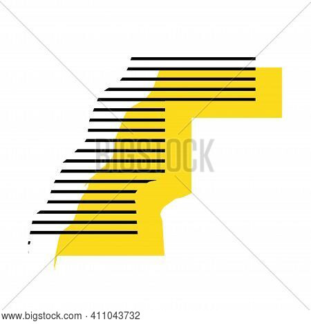 Western Sahara - Yellow Country Silhouette With Shifted Black Stripes. Memphis Milano Style Design.