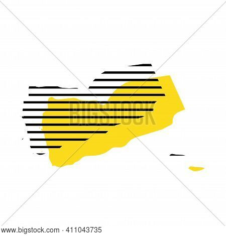 Yemen - Yellow Country Silhouette With Shifted Black Stripes. Memphis Milano Style Design. Slimple F