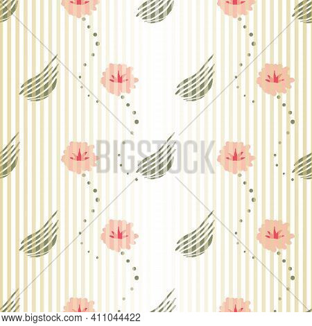 Light Stripes Seamless Vector Floral Pattern. Ombre Girly Surface Print Design For Fabrics, Statione