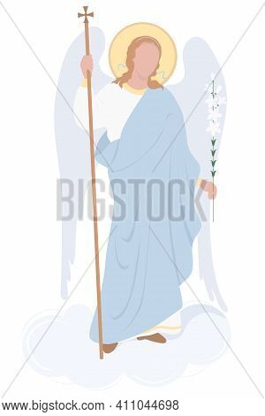 Archangel Gabriel On A Cloud With A White Lily - Celestial Messenger. Vector. Religion - Catholicism