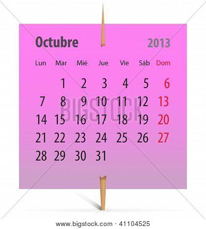 Calendar For October 2013 In Spanish