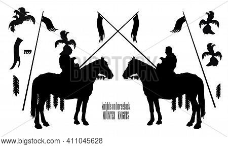 A Set Of Details For A Medieval Knight, Silhouettes Of Two Mounted Knights Isolated On A White Backg