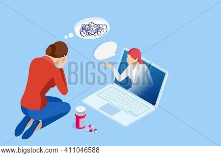 Isometric Depressed Women. Online Psychotherapy. Psychology, Health, Care, Depression, Frustration,