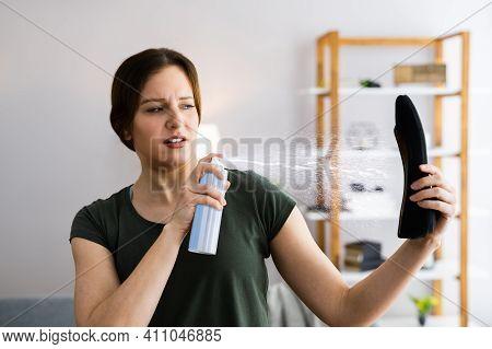 Shoe Spray Deodorizer Bottle. Muddy Shoes Deodorant