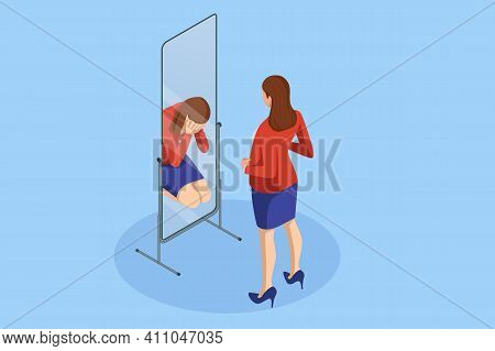 Isometric Depressed Women. Psychology, Health, Care, Depression, Frustration, Medicine Concept. Woma
