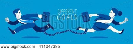 Businessman And Businesswoman Run In A Different Directions Linked By A Shackles To Their Legs Vecto
