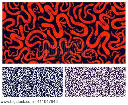 Snakes Seamless Textile Set, Vector Background With A Lot Of Serpents Endless Texture, Stylish Fabri