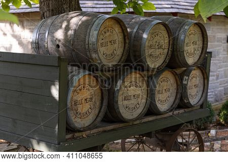 Nashville, Tennessee; Usa; Sept. 27, 2020. American Whiskey Barrels Are Stacked Outdoors On Vintage