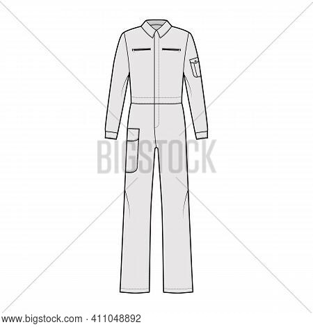 Boilersuit Coverall Dungaree Jumpsuit Technical Fashion Illustration With Full Length, Normal Waist,