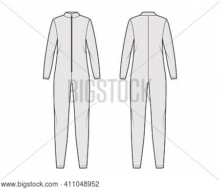 Catsuit Dungaree Overall Technical Fashion Illustration With Full Length, Zipper Closure, Oversized