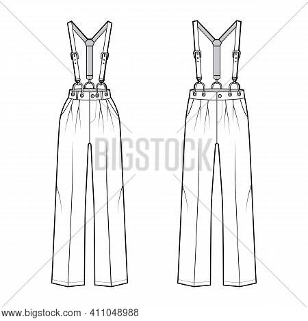 Set Of Suspender Pants Dungarees Technical Fashion Illustration With Full Length, Normal Low Waist,