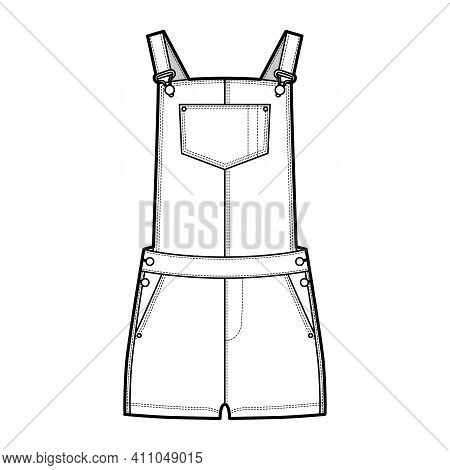 Dungarees Denim Overall Jumpsuit Technical Fashion Illustration With Micro Length, Normal Waist, Hig