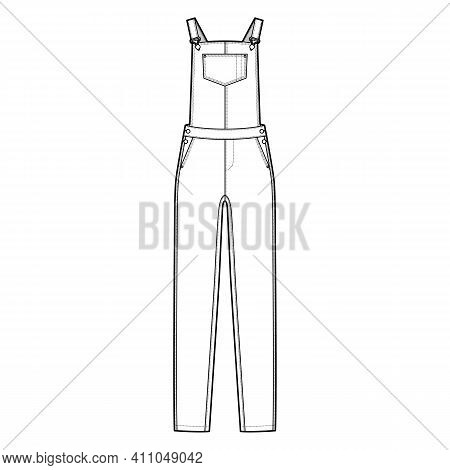 Dungaree Denim Overall Jumpsuit Technical Fashion Illustration With Full Floor Length, Normal Waist,