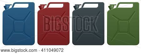 Metal Fuel Container Jerrycans. Canister For Gasoline, Diesel Gas. Fire Resistant Storage Tank.
