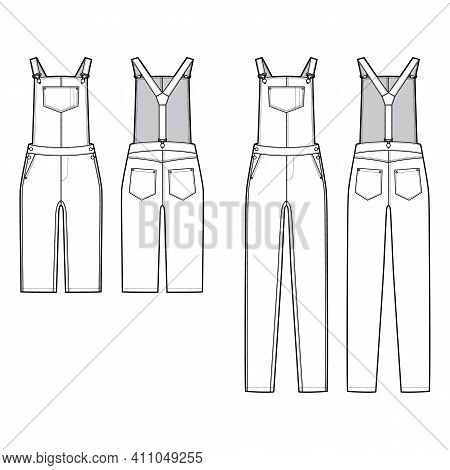 Set Of Dungarees Denim Overall Jumpsuit Dress Technical Fashion Illustration With Full Knee Length,