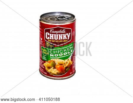 A Can Of Campbells Chunky Chicken Noodle Soup On White For Illustrative Editorial