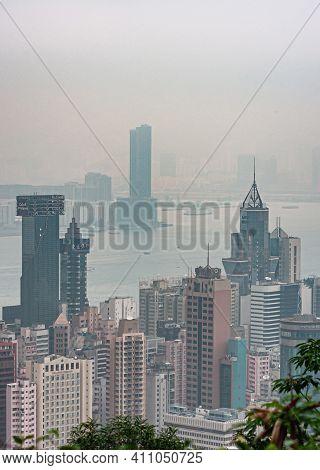 Hong Kong, China - May 12, 2010: Looking Down From Victoria Peak On Hong Kong Island And Kowloon Cit