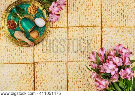 Matzoh Bread With Kosher Kiddush And Seder. Jewish Passover Holiday Concept.