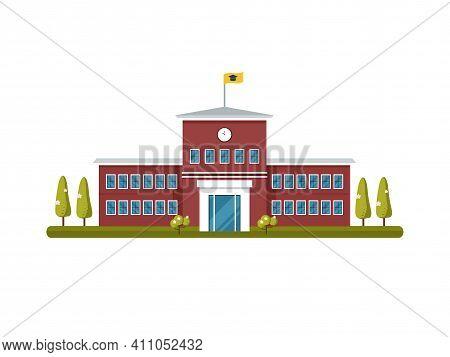 School Building Exterior Vector Illustration. Facade Of School Or Colledge In City. Back To School C