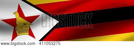 Banner With The Flag Of Zimbabwe Fabric Texture Of The Flag Of Zimbabwe.