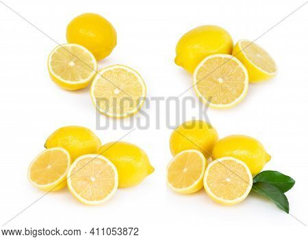 Set Of Fresh Lemon Fruit Slice Isolated On White Background, Food And Healthy Concept