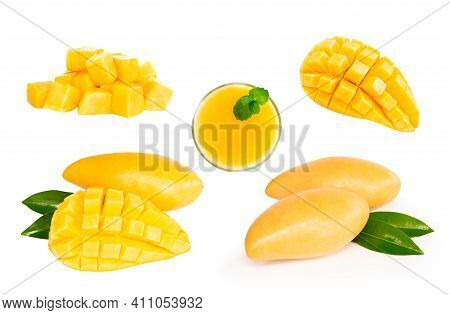 Closeup Ripe Mango Tropical Fruit Slice With Green Leaves Isolated On White Background