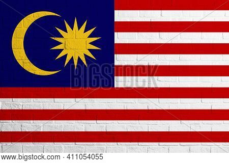 Flag Of Malaysia. Brick Wall Texture Of The Flag Of Malaysia.