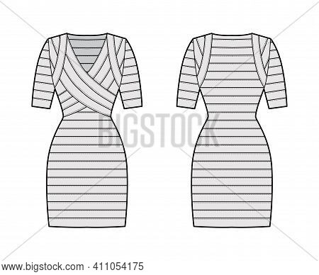 Bandage Dress Technical Fashion Illustration With V-neck, Short Sleeves, Fitted, Elasticated, Knee L