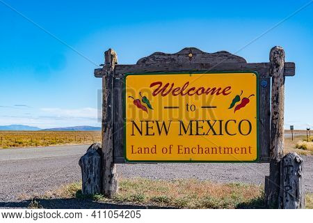 Antonito, Co - October 3, 2019: Welcome To New Mexico Sign Near The Colorado - New Mexico State Bord