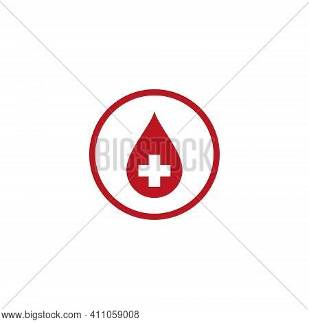 Blood Vector Illustration And Red Cross For Icon, Symbol Of Donation Of Blood. Blood Health Logo