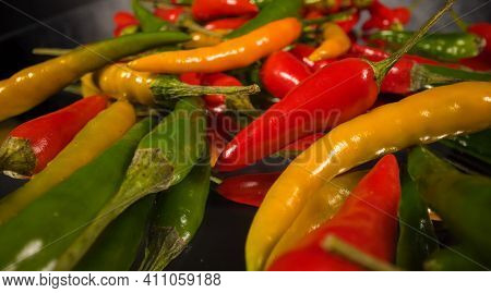 Macro Shot Over Rawit Chili Peppers In Close-up - Food Photography