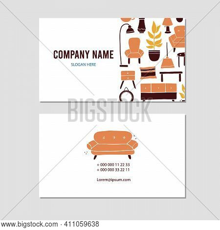 Visit Card With Living Room Furniture, Sofa, House Plant, Floor Lamp, Shelf. Doodle Sketch Style. Il