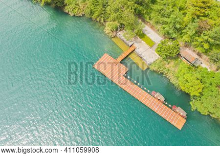 aerial view of Chiang Kai Shek Pier, Sun Moon Lake, Nantou, Taiwan