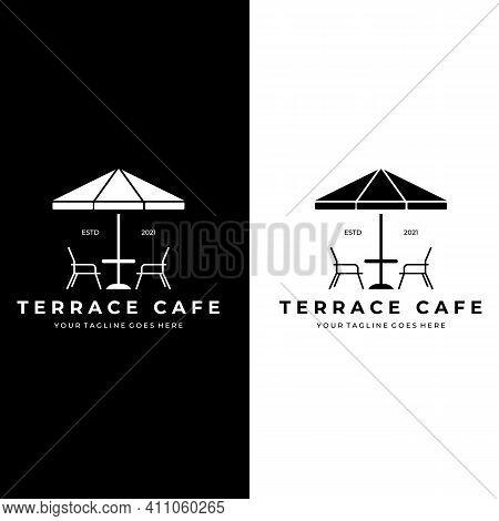 Terrace Cafe Outdoor Logo Vector Illustration Design Vintage Line Art
