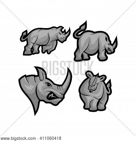 Rhino Vector Mascot Set With Modern Illustration Concept Style For Badge, Emblem And T-shirt Printin