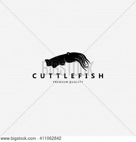Cuttlefish Logo Vector Vintage Silhouette Illustration Design Art Fish