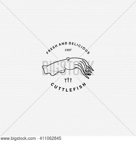 Cuttlefish Restaurant Logo Vector Illustration Design Line Art Fish