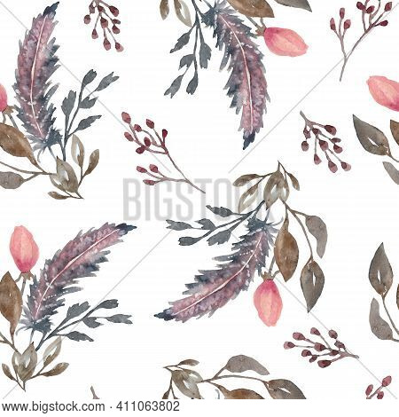 Watercolor Seamless Pattern With Pink And Brown Boho Bohemian Feathers, Roses Flowers Leaves. Tribal