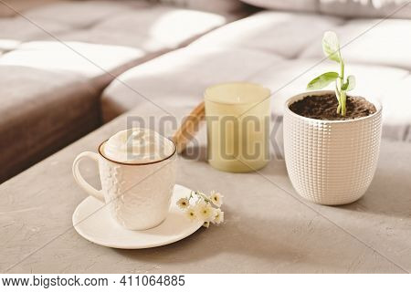 Cozy Weekend Morning Mood. Coffee Cup, Scented Candle And Flower In A Pot On A Table In Living Room.