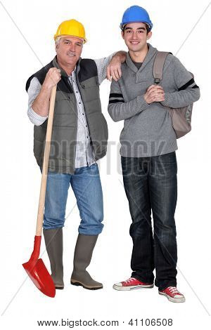 Experienced tradesman welcoming his new apprentice poster