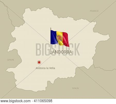 Highly Detailed Map Of Andorra Territory Borders, South European Country Administrative Map With And