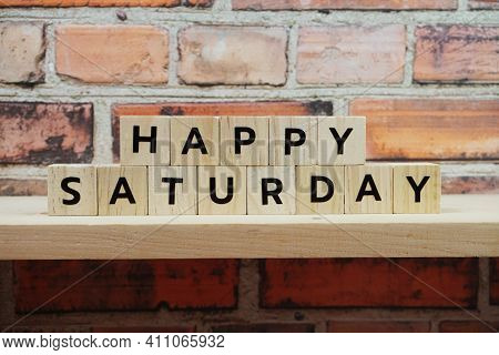 Happy Saturday Alphabet Letter On Shelves Wooden Background