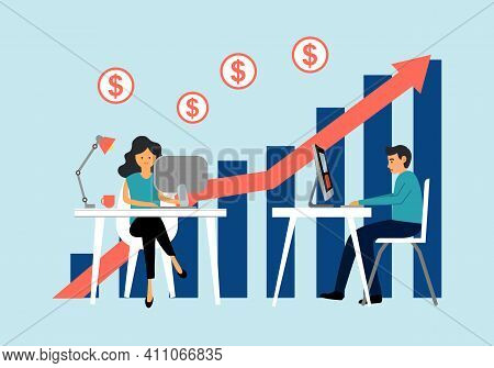 Businessman And Businesswoman Working On Computer With Investment Profit Graph And Arrow For Marketi