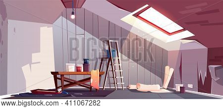 Vector Concept Of Attic Repair. Renovation Of Wooden Room Under A Roof. Tray With Paint, Cylinder Ro