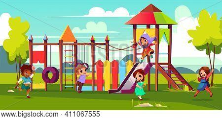 Children Playground Cartoon Vector Illustration With Multinational, Preschooler Kids Characters Runn
