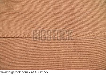 Close Up Brown Khaki Denim Jeans Fabric Texture, Stitch Empty Blank Design Element