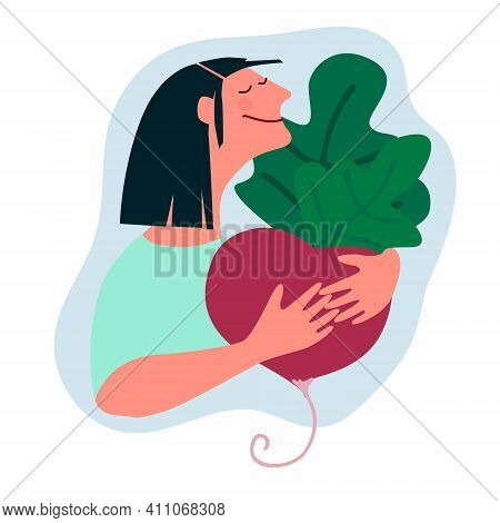 Happy Woman Holding Giant Beetroot. Humorous Vector Illustration In Trendy Flat Style. Harvesting, F