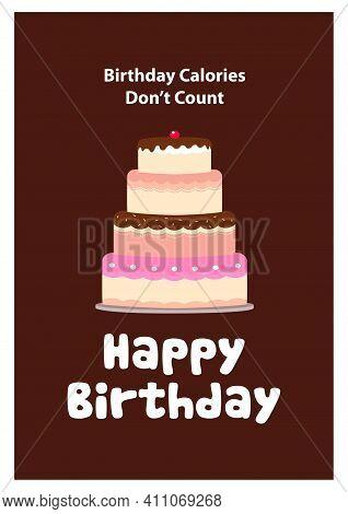 Vector Illustration Of A Cake Tart For Birthday Card