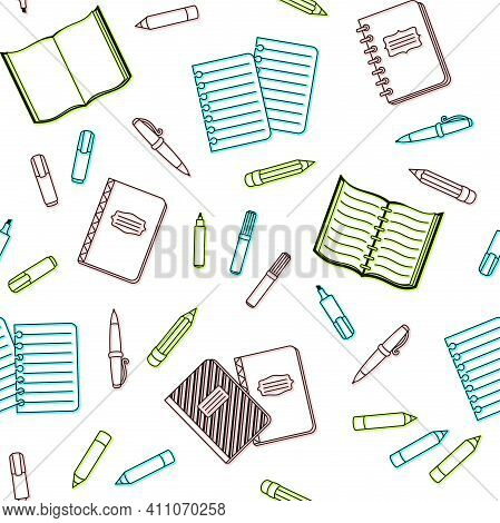 Colorful School Supplies And Office Stationary On A White Background. Vector Seamless Pattern For Ba