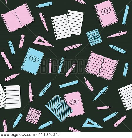 Blue And Pink School Supplies And Office Stationary On A Black Background. Back To School, Education